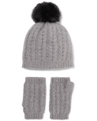 Portolano - Cable-knit Cashmere Beanie And Fingerless Gloves Set - Lyst