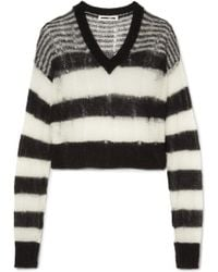 McQ Alexander McQueen | Distressed Striped Mohair-blend Jumper | Lyst