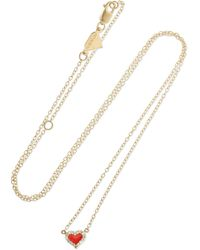 Alison Lou - Heart 14-karat Gold, Enamel And Diamond Necklace - Lyst
