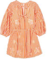 Innika Choo - Smocked Embroidered Gingham Cotton Mini Dress - Lyst