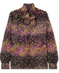 Giambattista Valli - Pussy-bow Floral-print Silk-georgette Blouse - Lyst