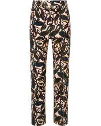 Chloé - Printed Cotton-blend Velvet Straight-leg Pants - Lyst