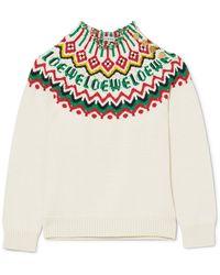 Loewe - Fair Isle Cotton-blend Sweater - Lyst