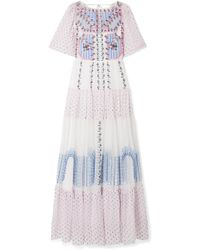 Temperley London | Bourgeois Embroidered Point D'esprit And Silk-chiffon Maxi Dress | Lyst