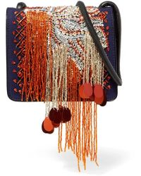 Dries Van Noten - Embellished Canvas And Patent-leather Shoulder Bag - Lyst