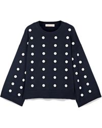MICHAEL Michael Kors - Oversized Embellished Cotton Sweater - Lyst