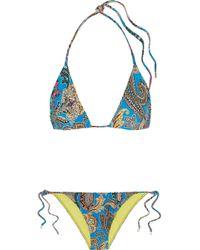 Etro - Printed Triangle Bikini - Lyst