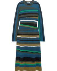 KENZO - Striped Knitted Midi Dress - Lyst