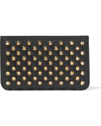 Christian Louboutin - Panettone Spiked Textured-leather Pouch - Lyst