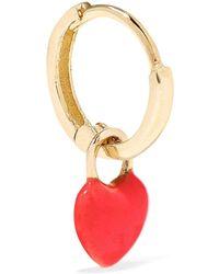 Alison Lou - Tiny Heart Huggy 14-karat Gold Enamel Hoop Earring - Lyst
