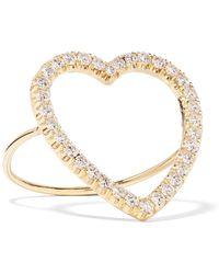 Jennifer Meyer | Open Heart 18-karat Gold Diamond Ring | Lyst
