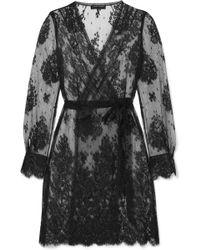 Carine Gilson - Deshabille Cache-coeur Cotton-blend Chantilly Lace Robe - Lyst