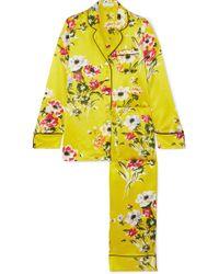 Lyst - Olivia Von Halle Lila Nika Striped Silksatin Pajama Set in Black 4073d8f99