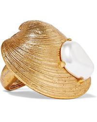 Oscar de la Renta - Gold-tone Faux Pearl Ring - Lyst