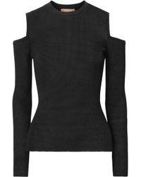 Michael Kors - Cold-shoulder Ribbed-knit Jumper - Lyst
