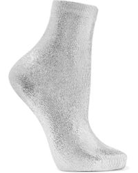 Maria La Rosa - Ribbed Metallic Silk-blend Socks - Lyst