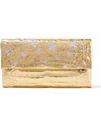 Nancy Gonzalez - Cutout Metallic Crocodile Clutch - Lyst
