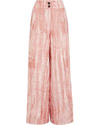 Rejina Pyo - Beatrice Crushed-velvet Wide-leg Pants - Lyst