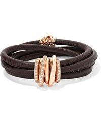 De Grisogono - Allegra Leather, 18-karat Rose Gold And Diamond Bracelet Rose Gold One Size - Lyst