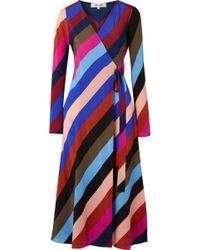 Diane von Furstenberg - Striped Silk Crepe De Chine Wrap Midi Dress - Lyst