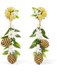 Mercedes Salazar - Tropic Pineapple Gold-plated, Resin And Faux Pearl Clip Earrings - Lyst