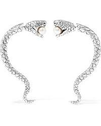 Saint Laurent - Sterling Silver Faux Pearl Earrings - Lyst