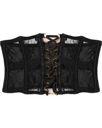 Agent Provocateur - Essie Satin-trimmed Leavers Lace And Stretch-tulle Corset - Lyst
