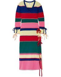 Rosie Assoulin - Striped Wool Midi Dress - Lyst