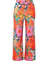 Mara Hoffman - Arlene Floral-print Tencel And Linen-blend Flared Trousers - Lyst