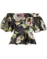 Marchesa - Off-the-shoulder Floral-print Silk-moire Peplum Top - Lyst