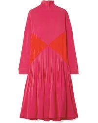 Cedric Charlier - Color-block Pleated Crepe Midi Turtleneck Dress - Lyst