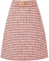 Gucci - Embellished Striped Tweed Skirt - Lyst