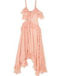 Alexander McQueen - Asymmetrische Robe Aus Stretch-strick Mit Gerüschtem Besatz Aus Seidenorganza - Lyst