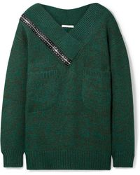 307a9a725c Christopher Kane - Oversized Cutout Crystal-embellished Knitted Sweater -  Lyst
