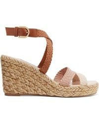 Stuart Weitzman - Elsie Woven Leather Espadrille Wedge Sandals - Lyst