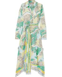 Emilio Pucci - Fringed Printed Silk-twill Midi Dress - Lyst