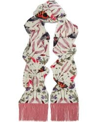 Silken Favours - Fringed Printed Silk Crepe De Chine Scarf - Lyst