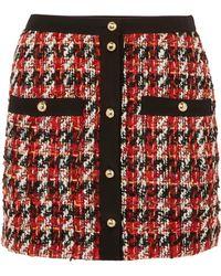 Alessandra Rich - Plaid Wool And Mohair-blend Miniskirt - Lyst