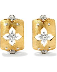 Buccellati - Macri Giglio 18-karat Yellow And White Gold Diamond Hoop Earrings - Lyst