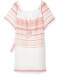 lemlem - Tiki Fringed Embroidered Cotton-blend Gauze Dress - Lyst