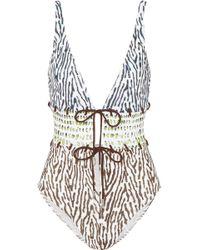 Marios Schwab - Calypso Lace-up Printed Swimsuit - Lyst