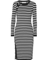 Altuzarra - Arzel Button-detailed Striped Ribbed-knit Midi Dress - Lyst