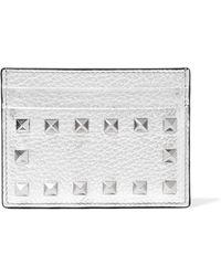 Valentino - Rockstud Metallic Textured-leather Cardholder - Lyst