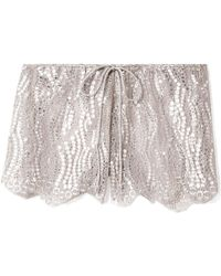 Miguelina | Minnie Metallic Lace Shorts | Lyst