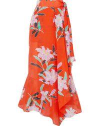 Diane von Furstenberg | Printed Cotton And Silk-blend Gauze Wrap Maxi Skirt | Lyst