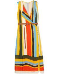 Tory Burch - Bettina Striped Silk-satin Midi Dress - Lyst