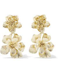 Oscar de la Renta - Gold-plated Clip Earrings Gold One Size - Lyst