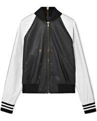 Tomas Maier - Zip-embellished Two-tone Leather Bomber Jacket - Lyst