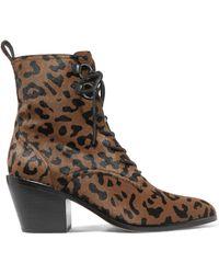 Diane von Furstenberg - Dakota Leopard-print Calf Hair Ankle Boots - Lyst