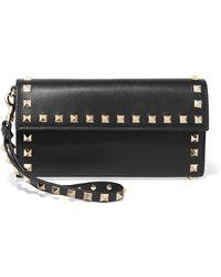 Valentino - Garavani The Rockstud Leather Continental Wallet - Lyst